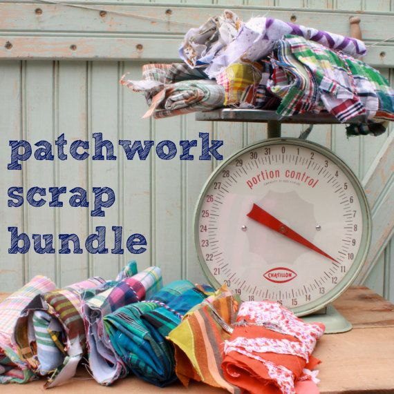 Patchwork Fabric Scrap Bundle - 18.5 Ounces - Floral Crochet Madras Patch Work Plaid Brights