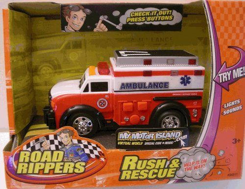 """Road Rippers - Rush & Rescue Mini Ambulance 17 by Road Rippers. $13.99. Lights operate on front and driver side only. Awesome Light and sound display!. 5 1/2"""" L x 2 1/4 W x 2 1/2"""" H. Ages 3+. Mini Ambulance. BATTERY OPERATED AMBULANCE MAKES SOUND AND HAS LIGHTS, 3 1/2"""" X 5"""""""