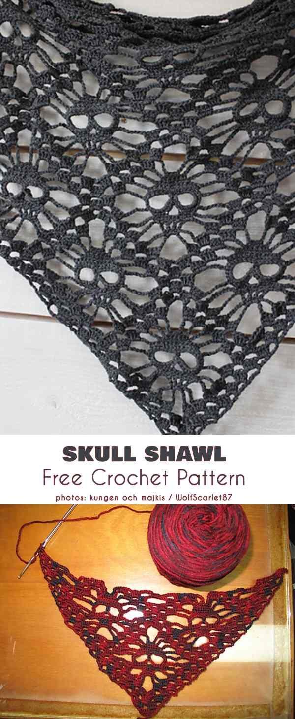 Skull Shawl Free Crochet Pattern #crochetshawlfree