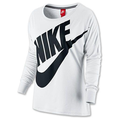 742967d1 Women's Nike Signal Long Sleeve T-shirt | Finish Line | White/Black ...