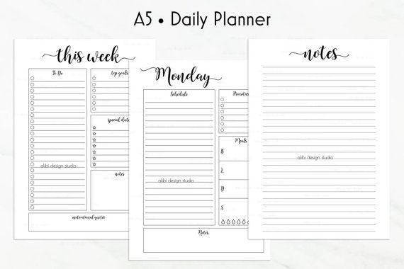 daily planner a5 undated printable planner pages day per page