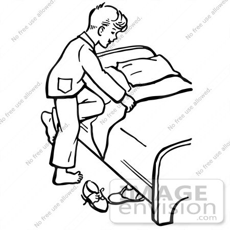 #61825 Clipart Of A Retro Boy Climbing Into Bed In Black