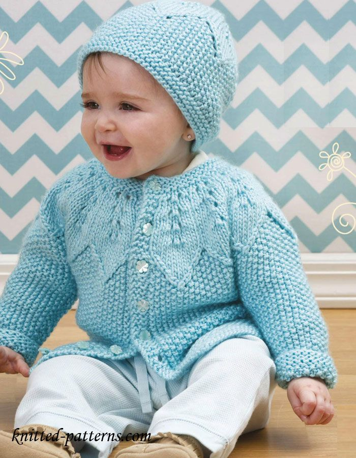 Knitting Sweater Designs For Baby : Baby cardigan and hat knitting pattern free