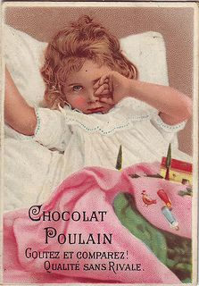 CHROMO CHOCOLAT POULAIN - GIRL RUBBING HER LEFT EYE WITH HER LEFT HAND - TOYS ON BED IN FRONT OF HER - VEX2-132 | par patrick.marks