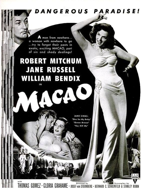 1952 jane russell macao old hollywood black white film noir robert mitchum howard hughes cinema theatre exotic movie poster wall art decor