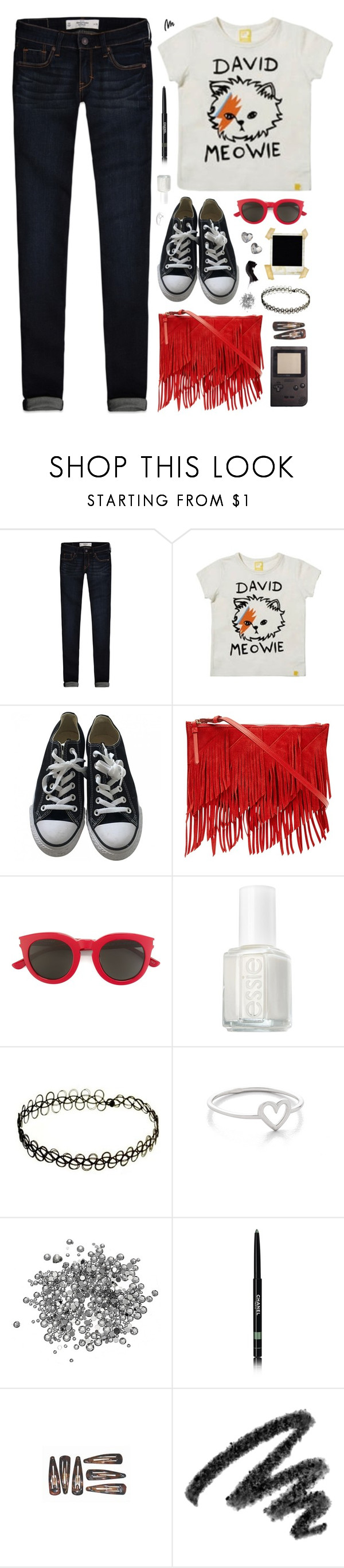 """""""Jean Genie"""" by charcharr ❤ liked on Polyvore featuring Abercrombie & Fitch, Converse, Reiss, Yves Saint Laurent, Essie, Polaroid, Chanel and LARA"""
