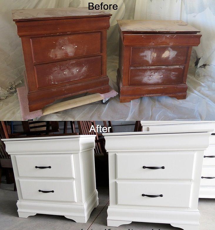 meuble en bois repeint avant apres 9