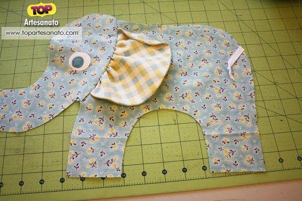 Como fazer elefante de tecido - Passo 3