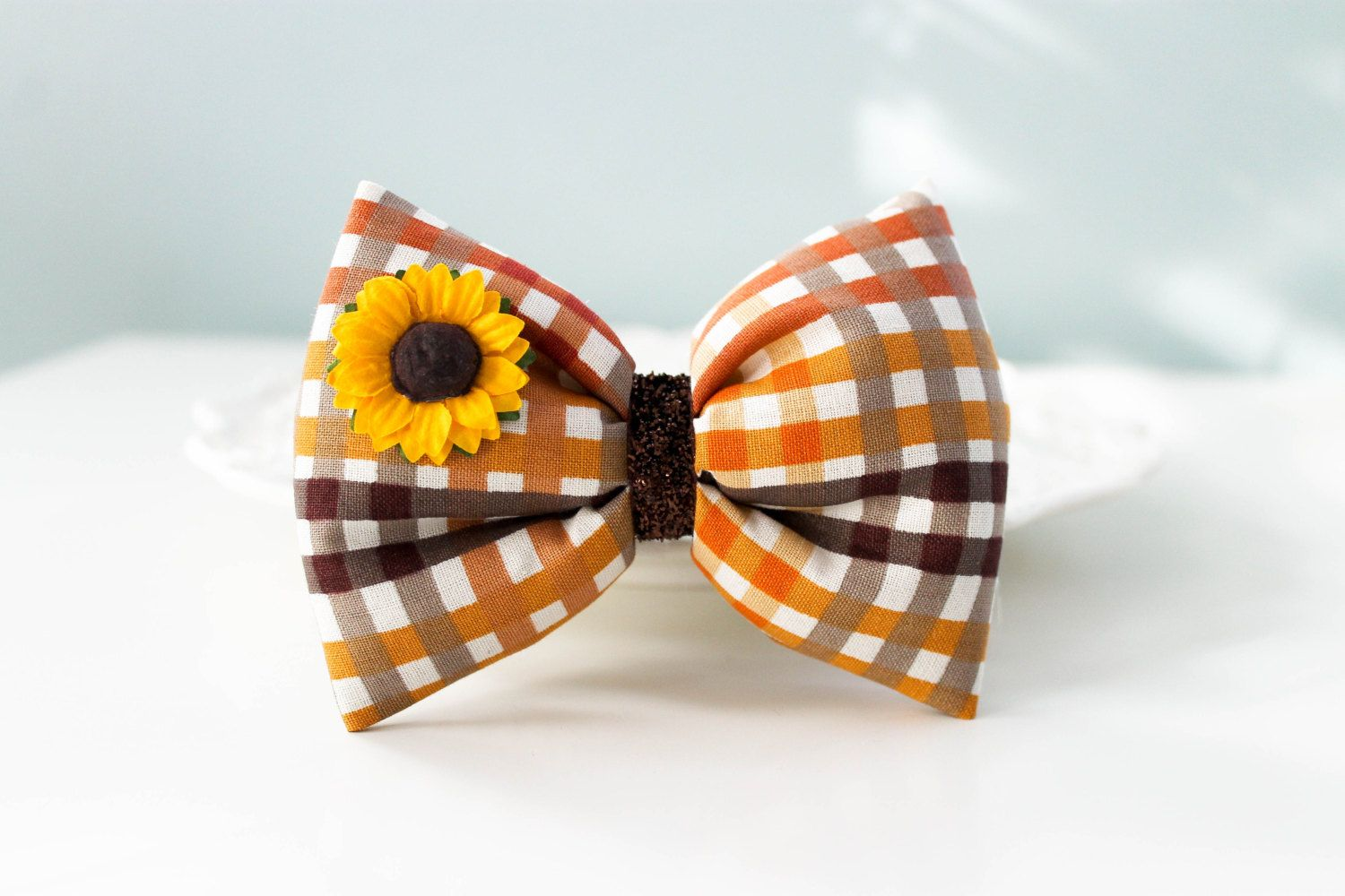 Thanksgiving Hair Bow, Harvest Bow, Puffy Hair Bow, Holiday Hair Bow, Sunflower Hair Clip, Autumn Fall Puffy Bow, Sunflower Hair Bow by jentabows on Etsy