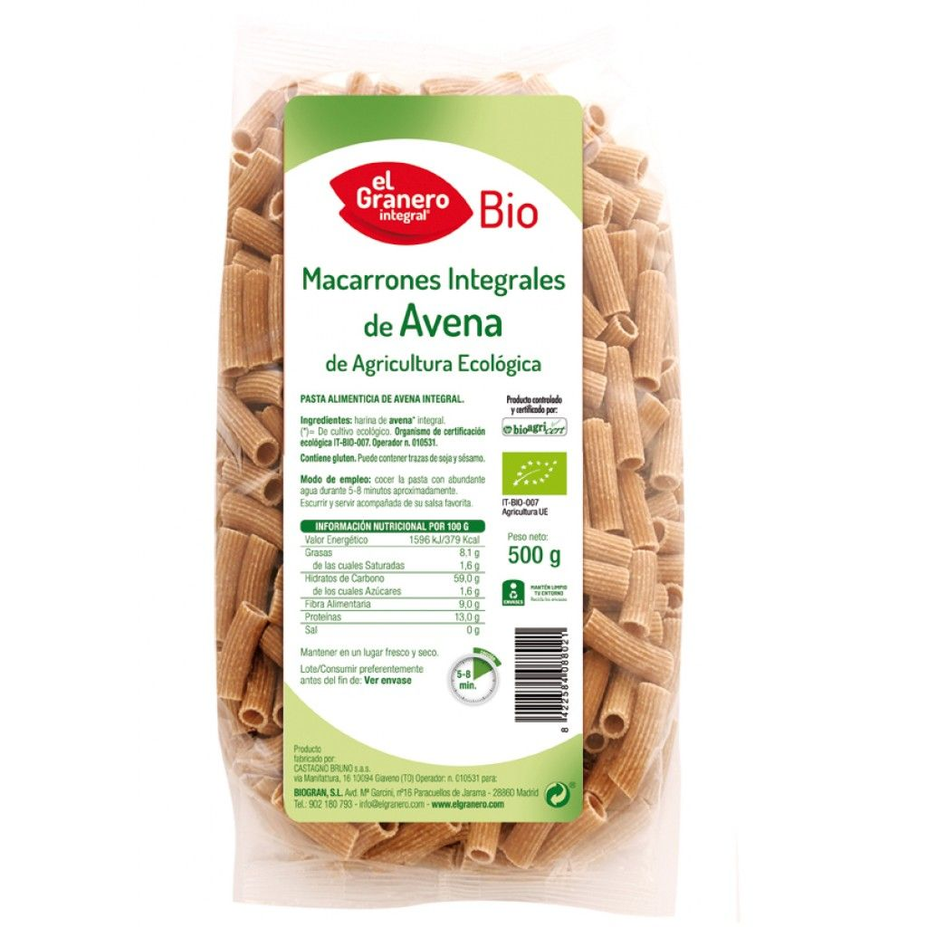 Macarrones Integrales de Avena Bio - El Granero - 500 g