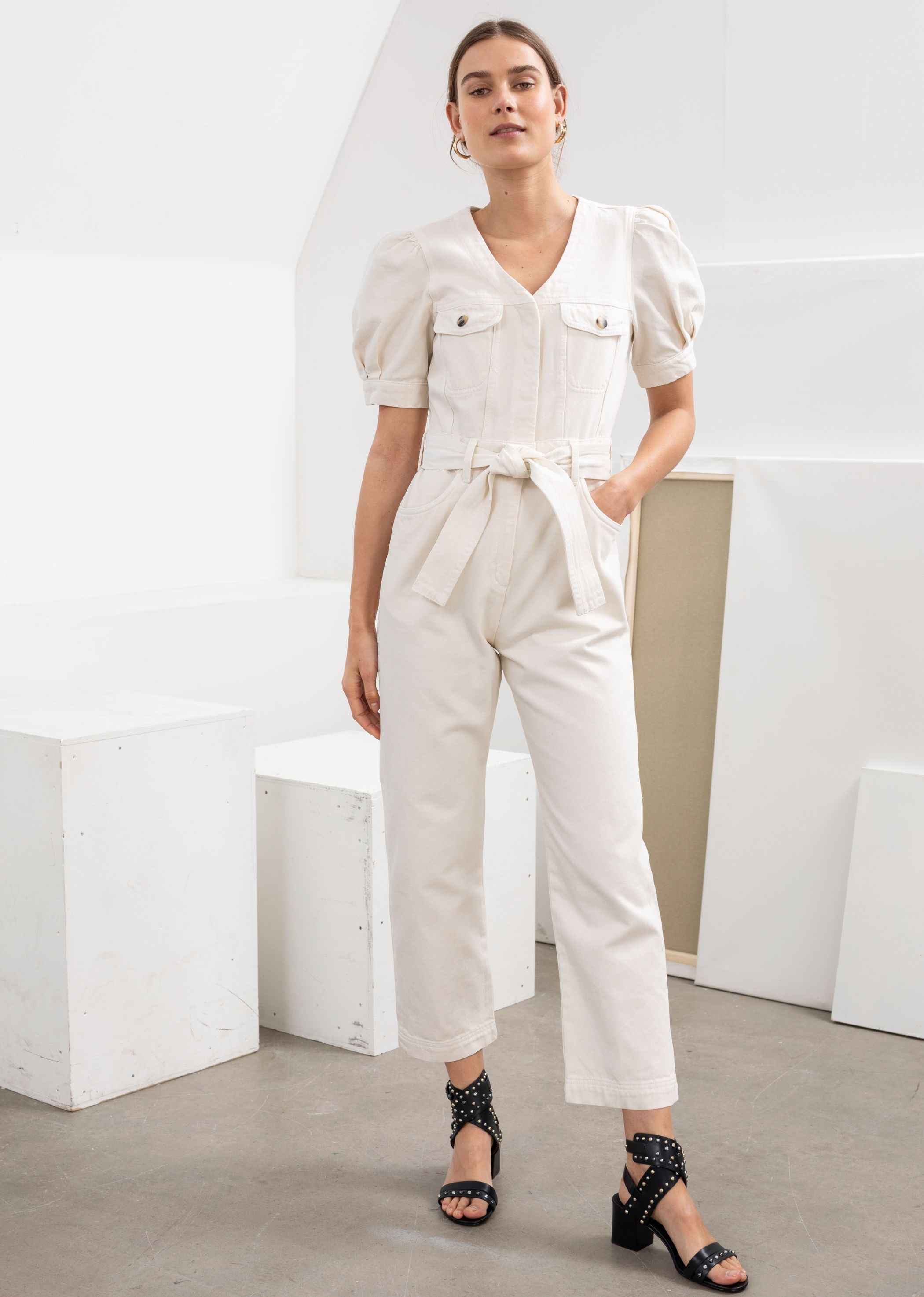 Denim Belted In Jumpsuit Like Puff Sleeve 2019Ss19 trshQd