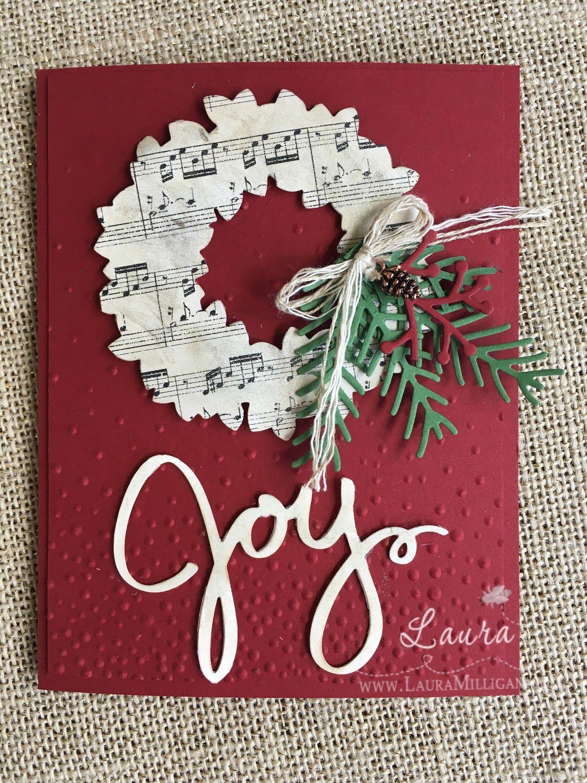 Joyful Wreath Diy christmas cards, Homemade christmas