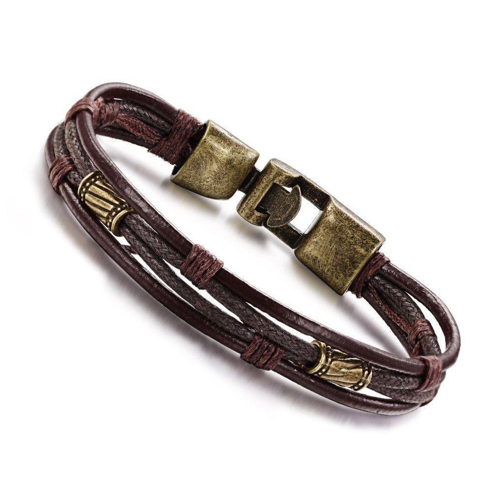 Women man fashion casual genuine leather hook link chain bracelet