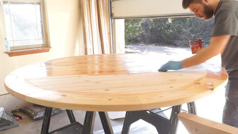 Diy round farmhouse dining table modern builds