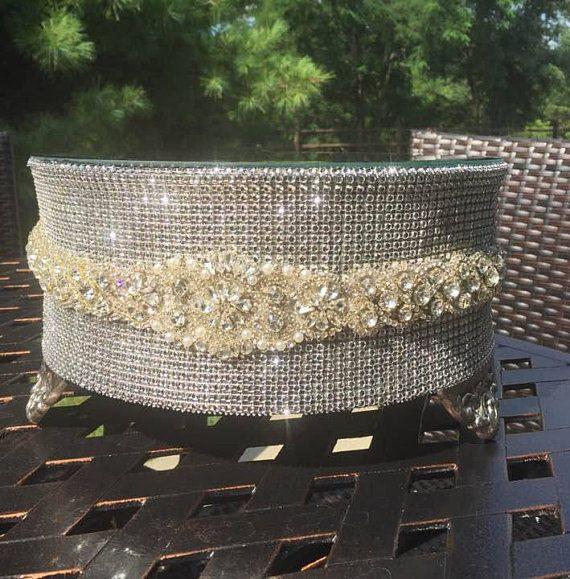 Soporte de la torta de diamantes de imitación de novia