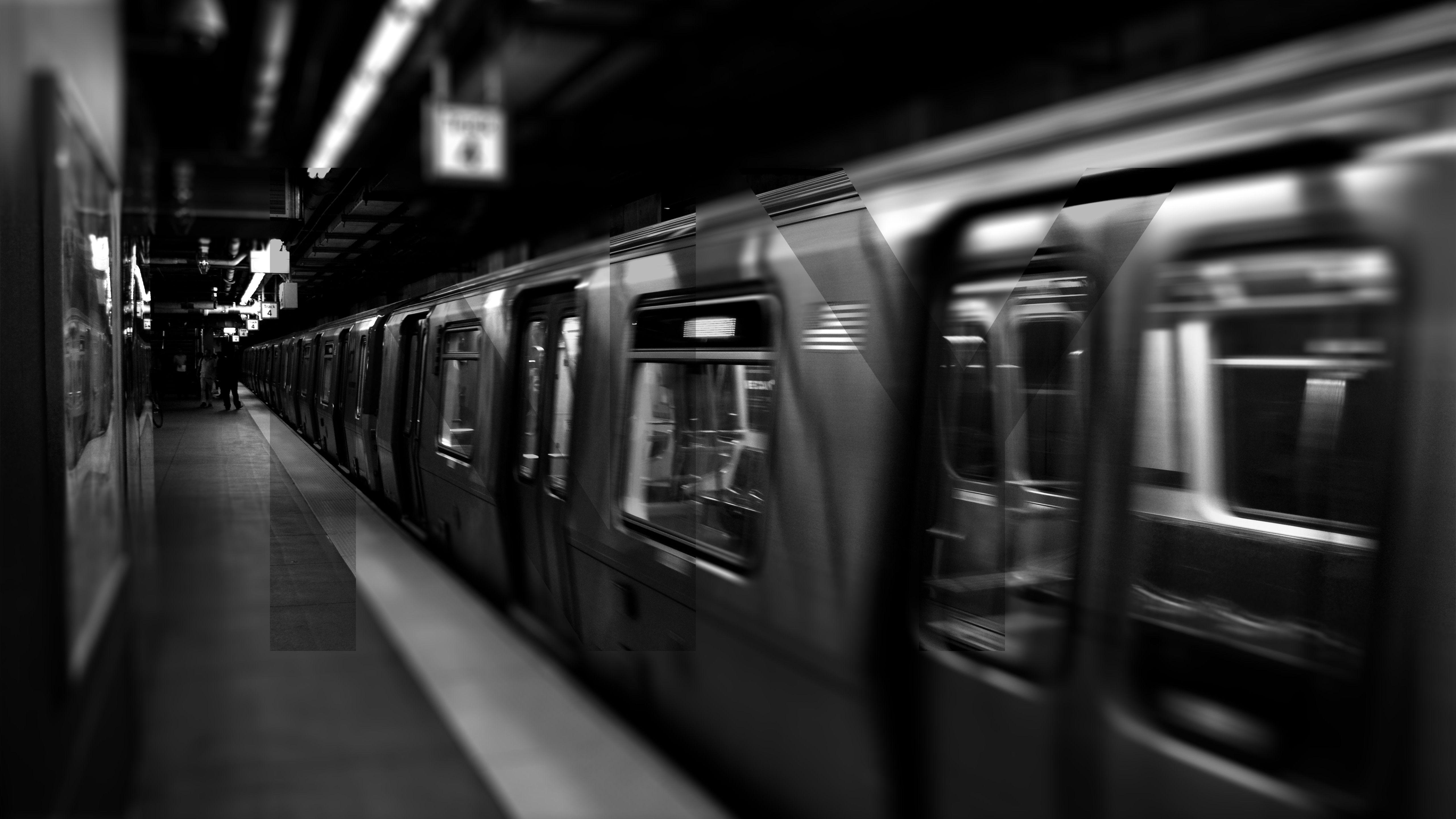 General 5120x2880 New York City Underground Subway Metro Train Monochrome Vehicle Train Wallpaper Subway Grayscale