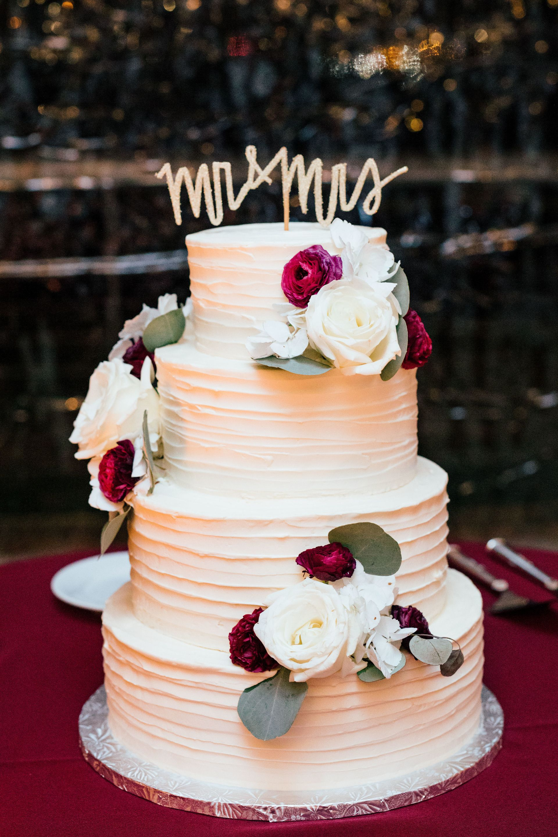 Romantic Wedding Cake White And Red Florals Gold Mr Mrs Cake