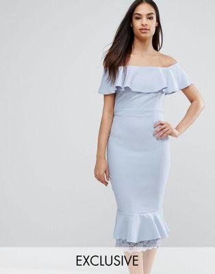 f85ab8ce976e Vesper Off Shoulder Frill Pencil Dress With Lace Insert