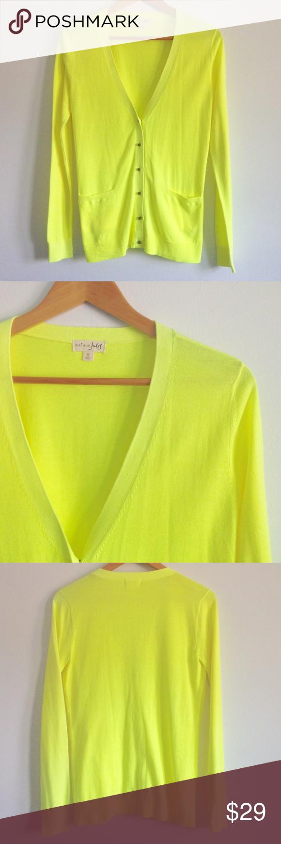 Maison Jules Neon Yellow Cardigan NWT | Yellow cardigan and Neon ...