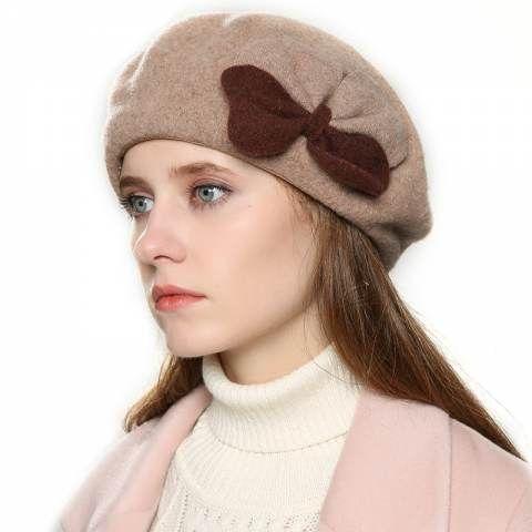 d50c30ed2c87df Double bow wool beret hat for women elegant warm winter hats ...
