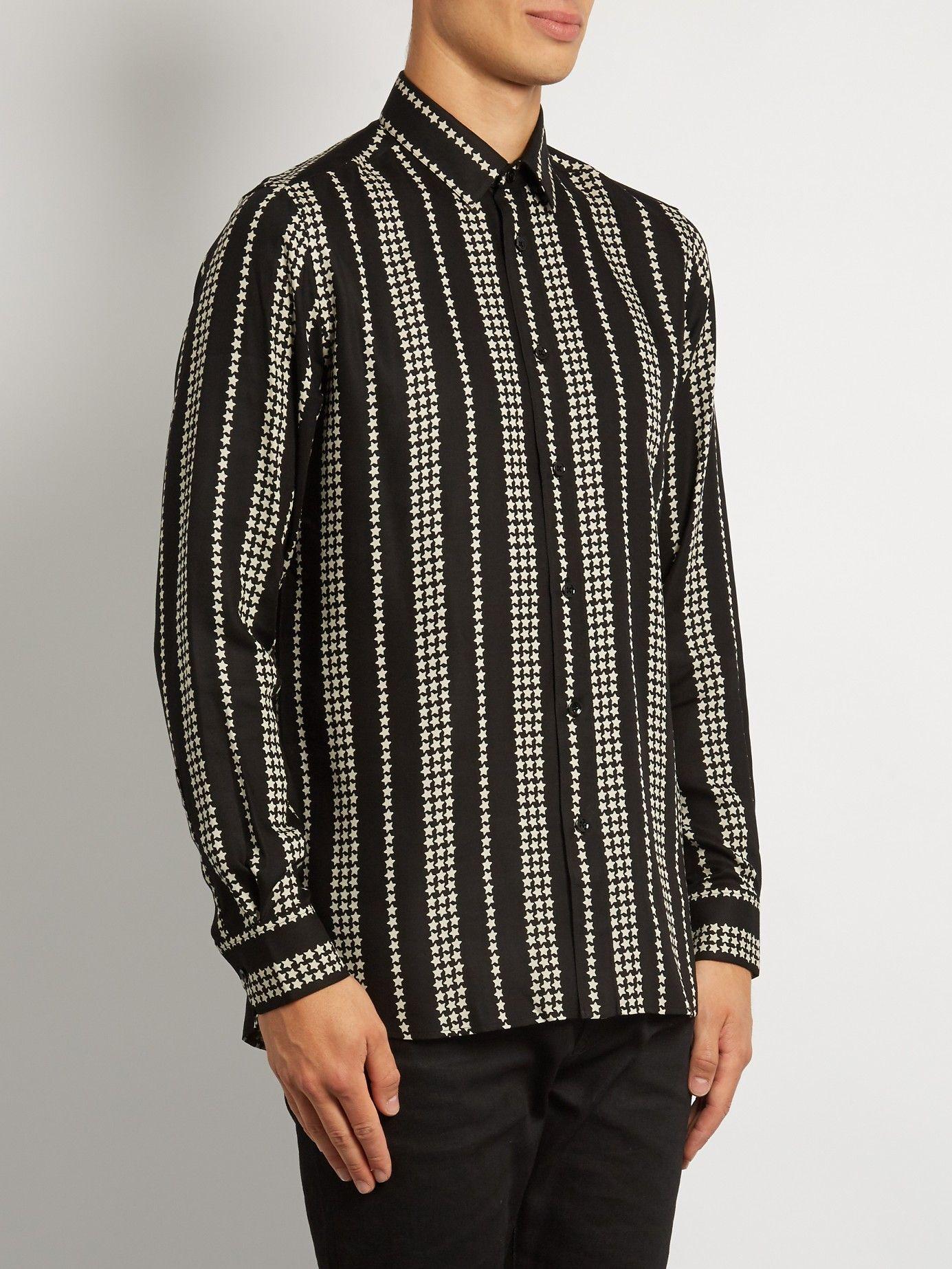 SAINT LAURENT  Striped star-print twill shirt €539
