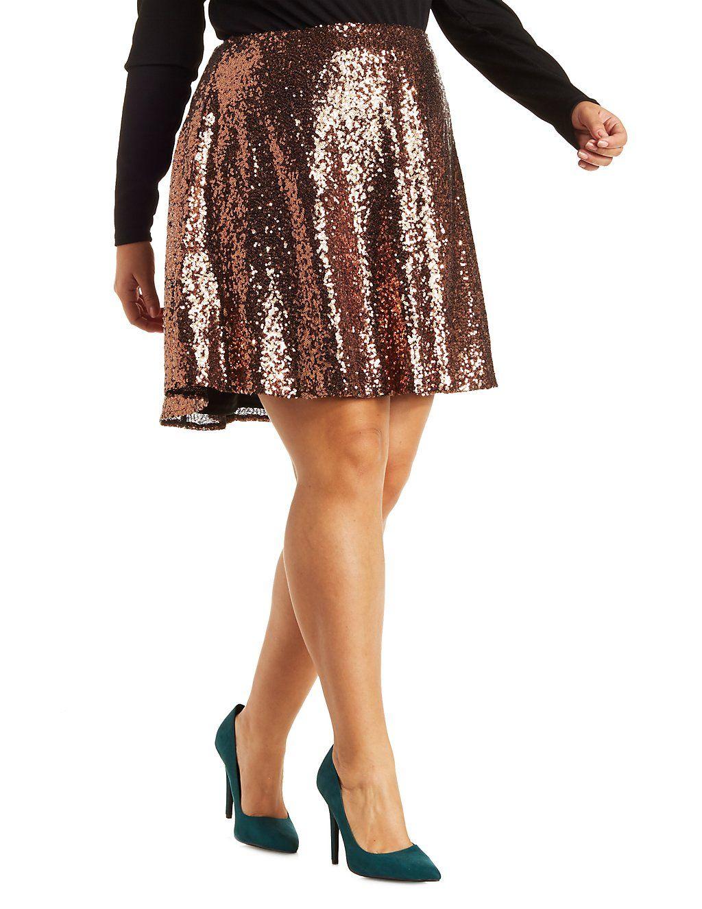 76bcd0e7334 Plus Size Sequin Skater Skirt