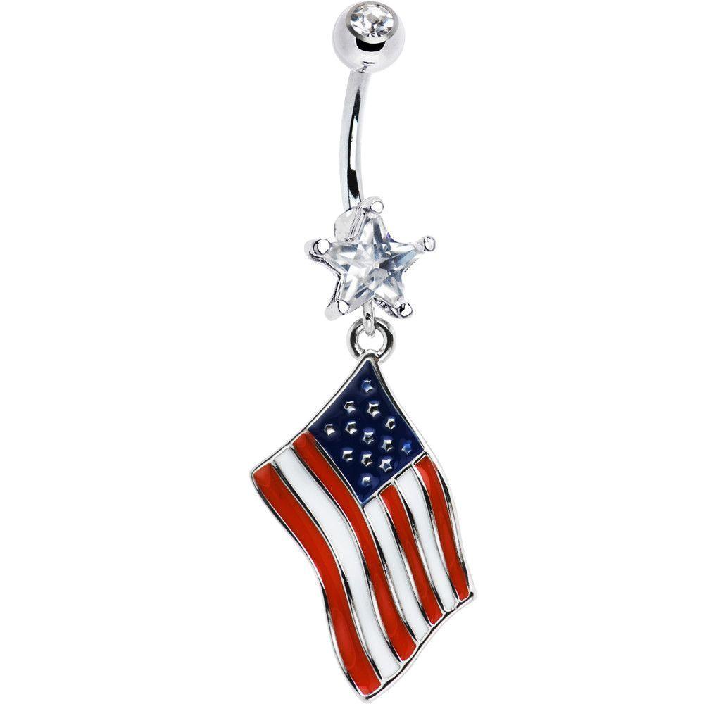 Usa American Flag Dangle Belly Ring Dangle Belly Rings Belly Rings Belly Button Rings