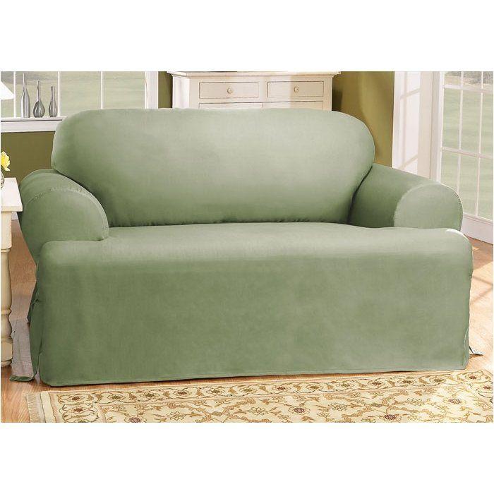 Cotton Duck T-Cushion Sofa Slipcover | Cushions on sofa ...