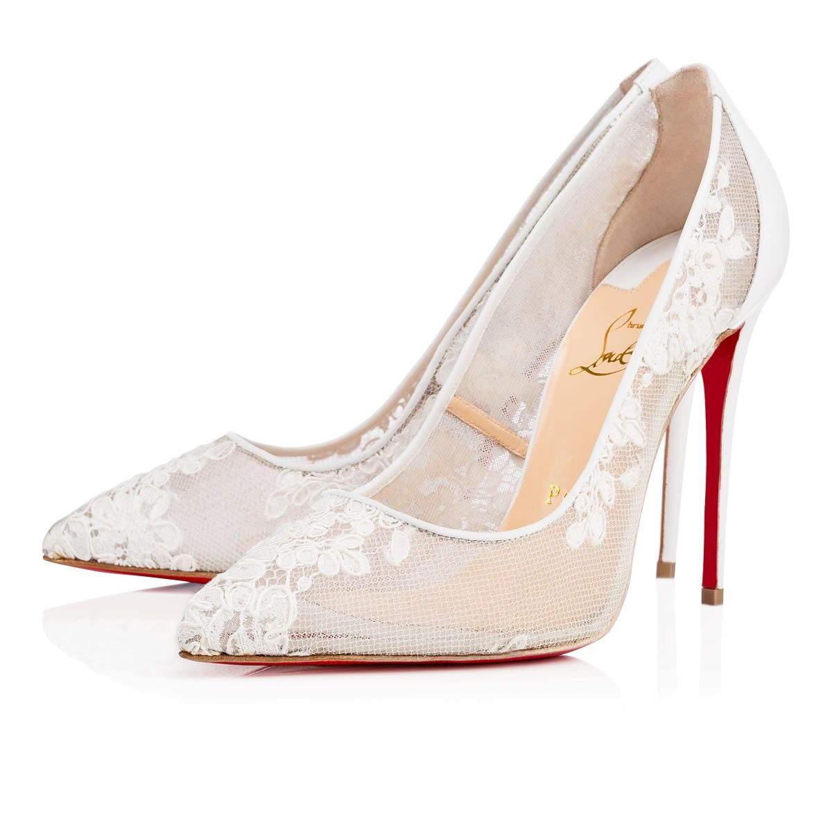 christian louboutin white lace shoes
