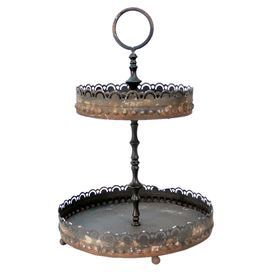 "Two-tier distressed metal tea stand.   Product: Tea standConstruction Material: MetalColor: Brown  Features: Two tiersDimensions: 13.5"" H x 9.25"" Diameter"