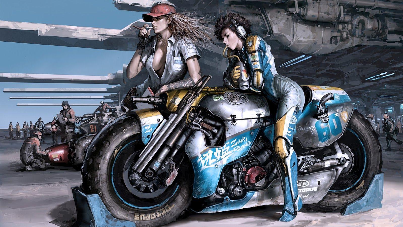 Sexy sci fi anime girl sci fi futuristic motorcylce jet