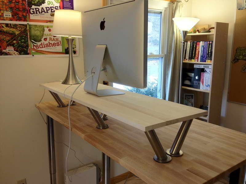 DIY Office Classic Standing Desk with Modern Flat Silver Computer