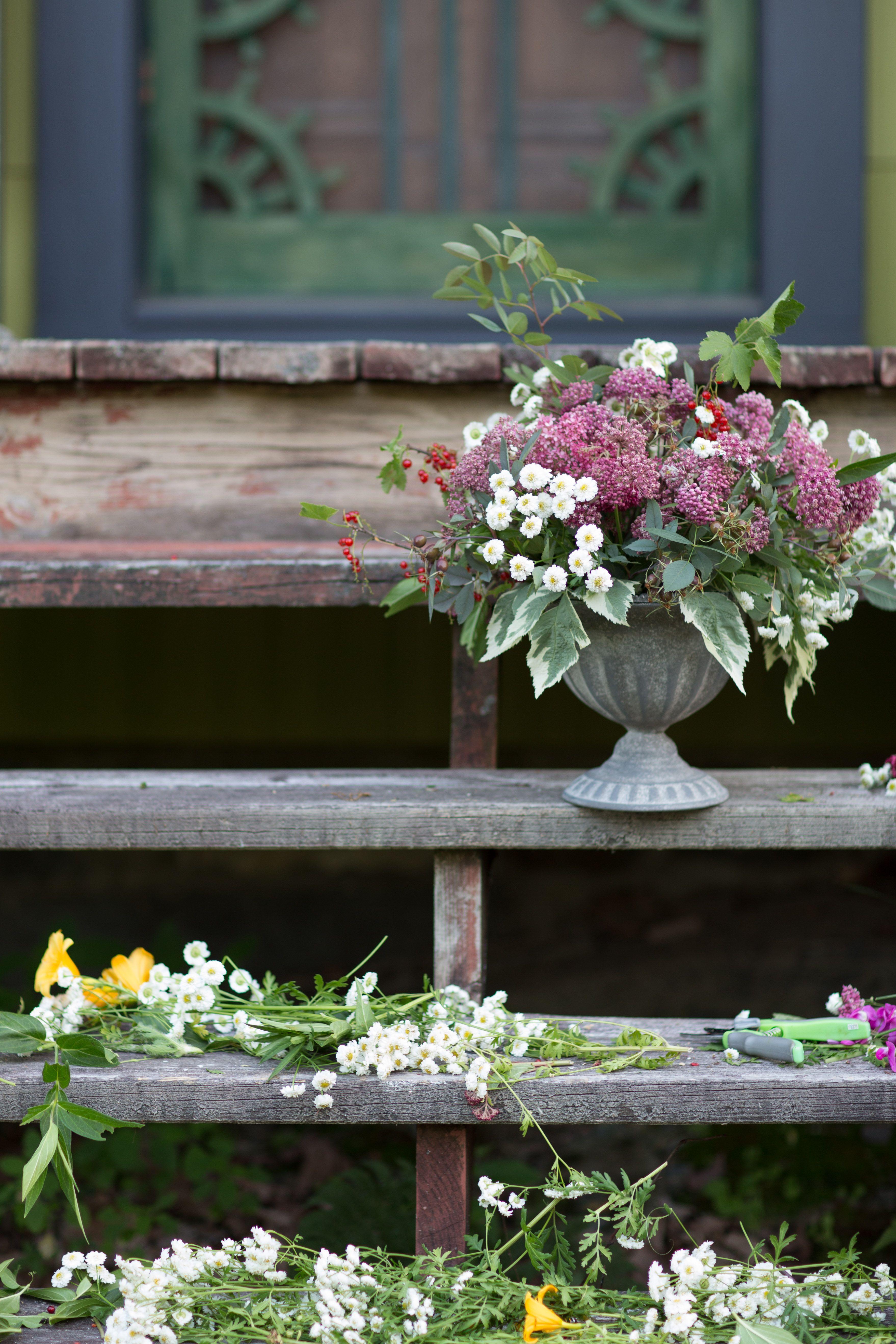 Cueillir les fleurs du jardin pour préparer un beau bouquet ...
