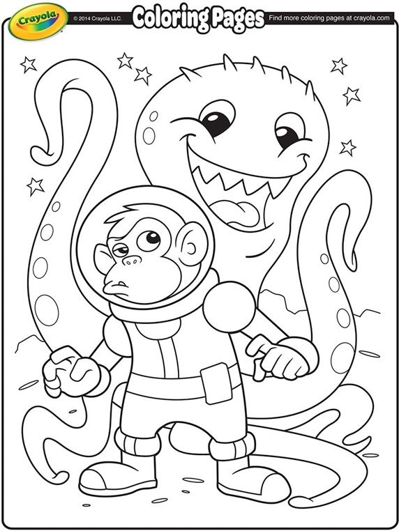 Space Alien And Monkey Astronaut On Crayola Com Space Coloring Pages Dinosaur Coloring Pages Coloring Pages