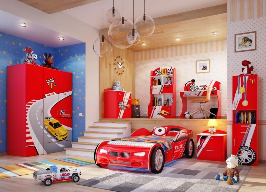 Varied Creative Kids Bedroom With Car Bed Perfect For Active Boys