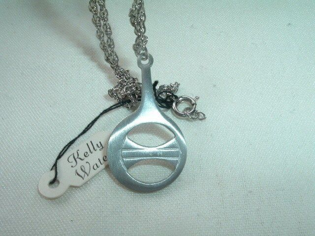 Details About Modernist Kelly Waters Pewter Pendant On Chain In Gift