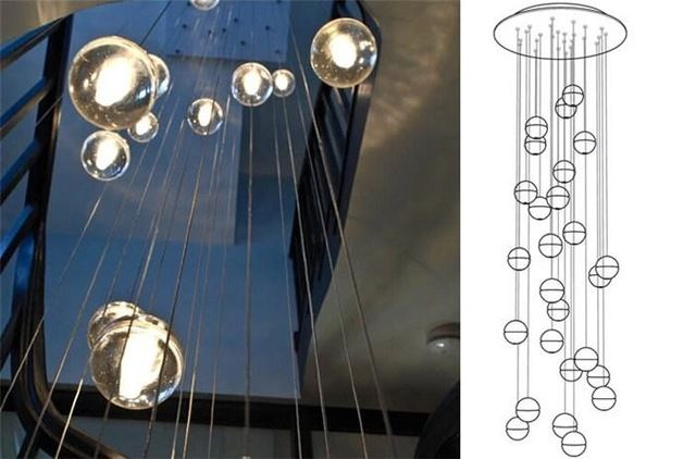 Treppenleuchte Treppenhaus Hängelampe Hängeleuchte Kristall LED ...