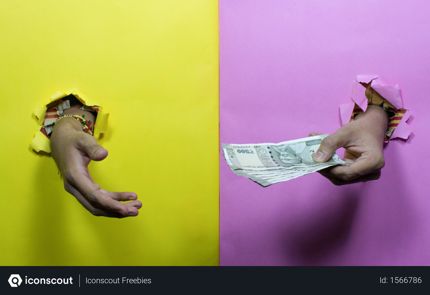 Free One Hand Giving Indian Money To Other Hand Through Yellow And Pink Paper Photo Download In Png Jpg Format Pink Paper Money Design Photo