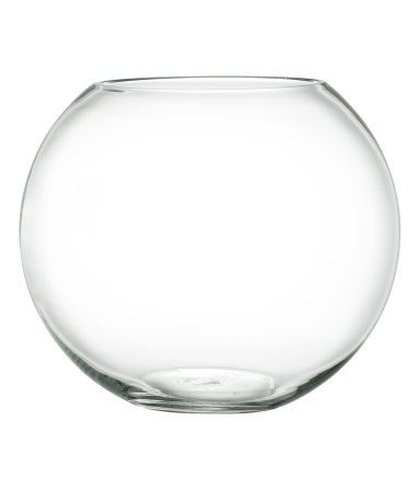 Clear Glass Large Round Glass Vase Diameter At Top 6 In Height