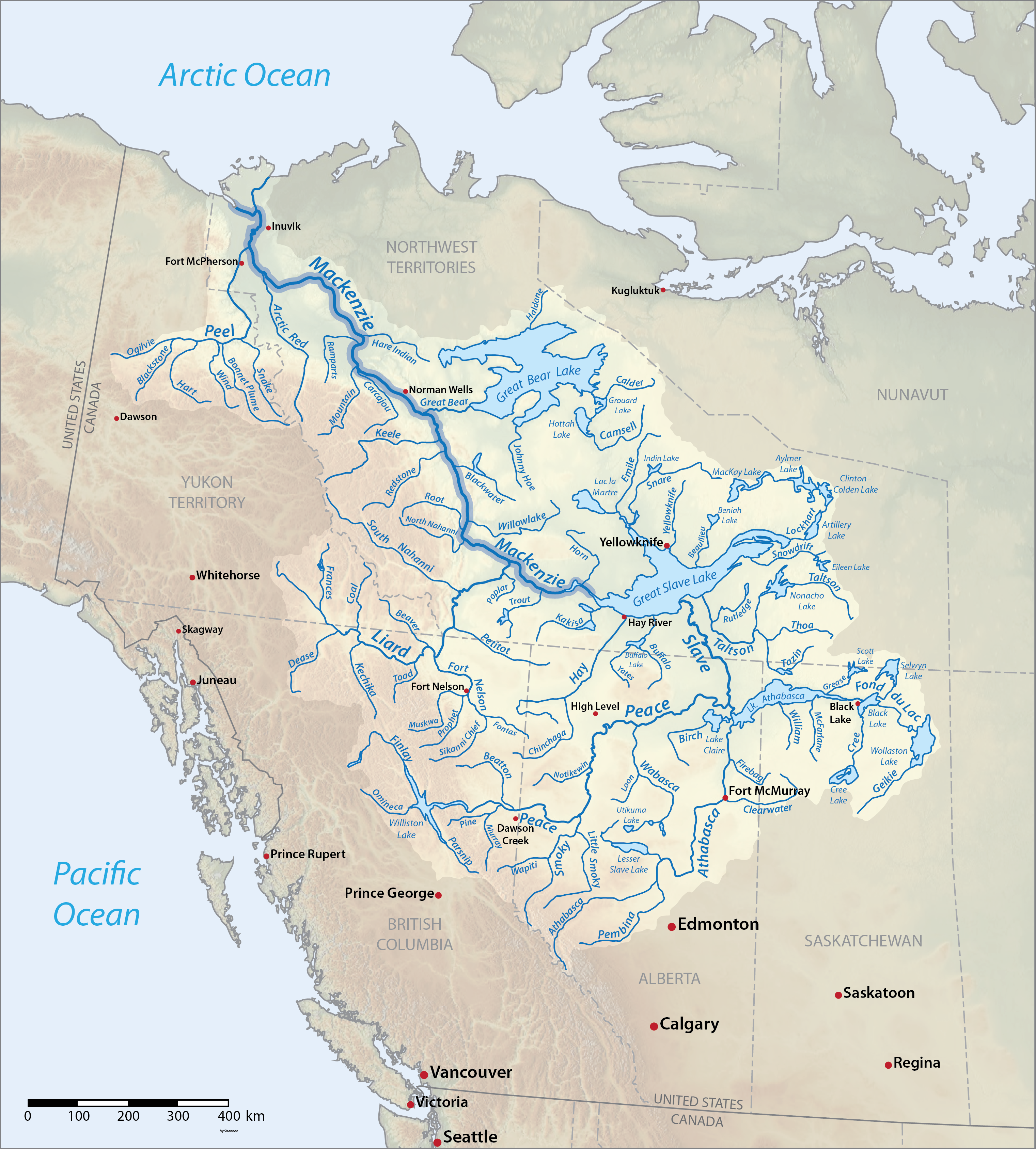 Map of Mackenzie watershed including tributaries and major lakes