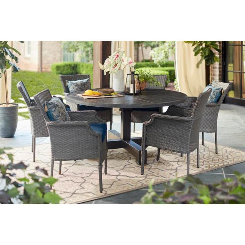 The Home Depot Logo Round Outdoor Dining Table Gray Patio