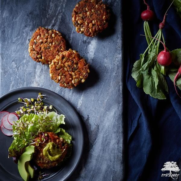 Mung Bean And Sweet Potato Sliders With  Avocado Cumin Cream from truRoots®️️️ are the perfect meatless Monday recipe!