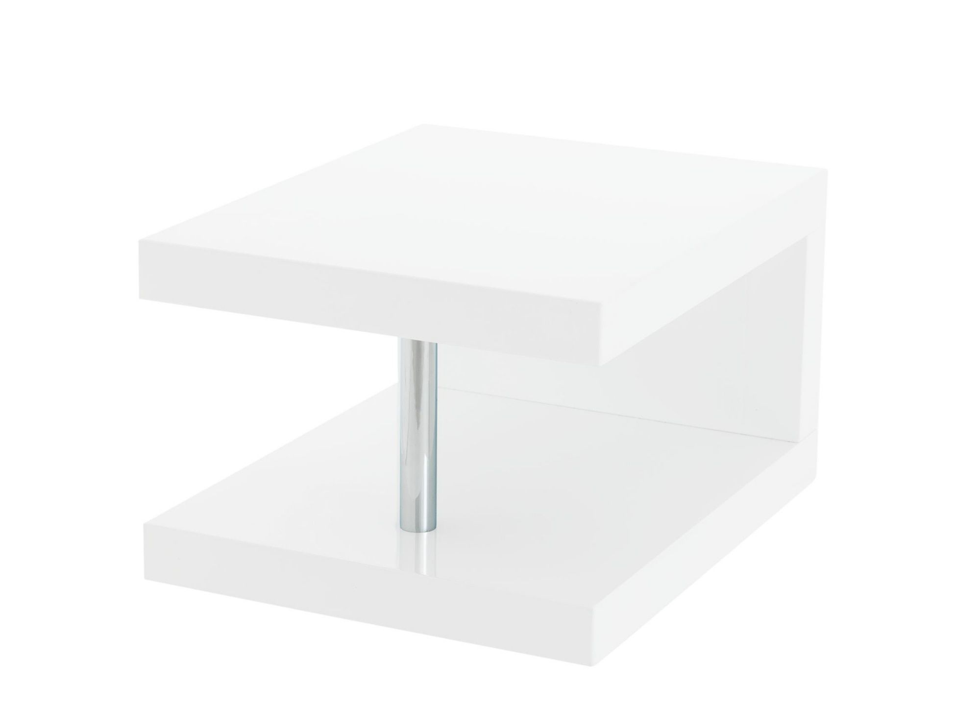 table chevet blanc brillant fly table