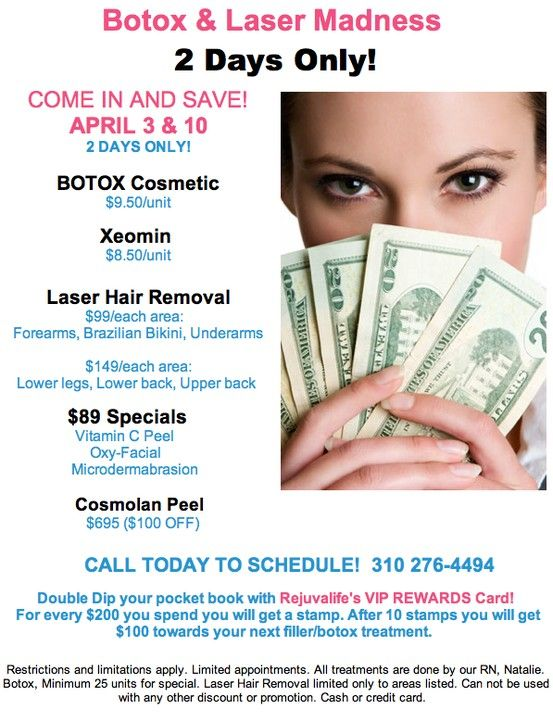 Botox Filler Madness 4 3 13 And 4 10 13 Only Visit Us At Www Rejuvalife Md For More Information Or Cosmetic Surgery Botox Cosmetic Cosmetic Treatments