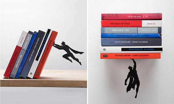 Whimsical Superhero Bookends And Floating Shelf By Artori Design