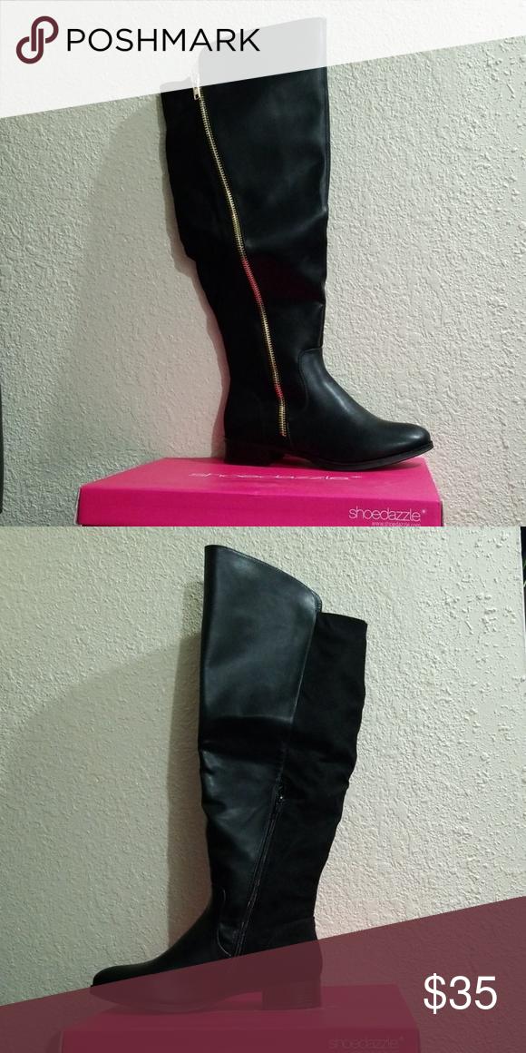 Black Flat Knee High Boots - Wide Calf