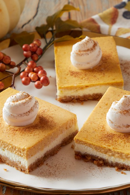 Pumpkin Cheesecake Bars Daisy Brand Sour Cream Cottage Cheese In 2020 Pumpkin Cheesecake Bars Pumpkin Cream Cheese Bars Pumpkin Cheesecake