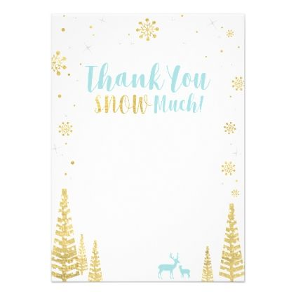 Blue  Gold Winter Matching Thank You Note Card  Birthday Gifts