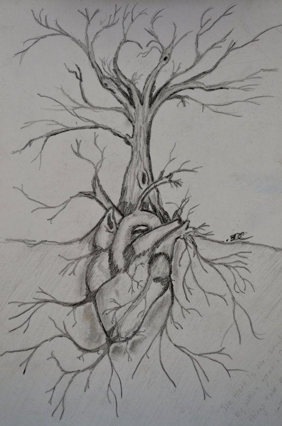 Giclee Print Tree Of Life Hand Made Pencil Drawing Dark