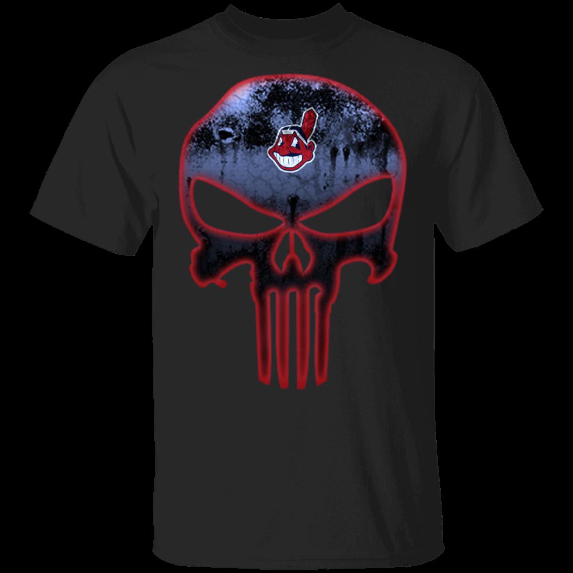 MLB Cleveland Indians Baseball The Punisher Skull T